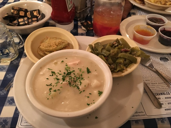chicken n' dumplings, slow cooked green beans and fried green tomatoes