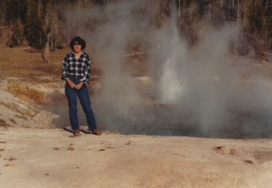 me at Imperial Geyser, Yellowstone 10/9/79