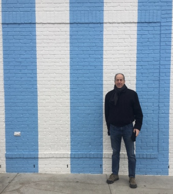 Mike and the striped wall