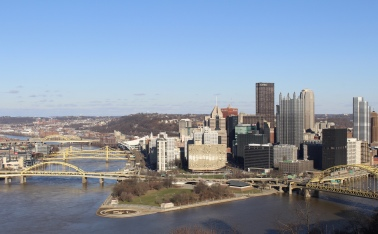 Pittsburgh from Grandview Avenue: the Allegheny on the left and the Monongahela on the right. Three Sisters Bridges on the left.