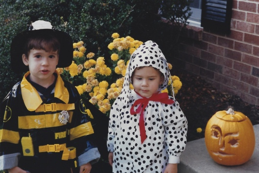 Here, Alex wears a packaged Fireman costume, while I made the Dalmation suit for Adam
