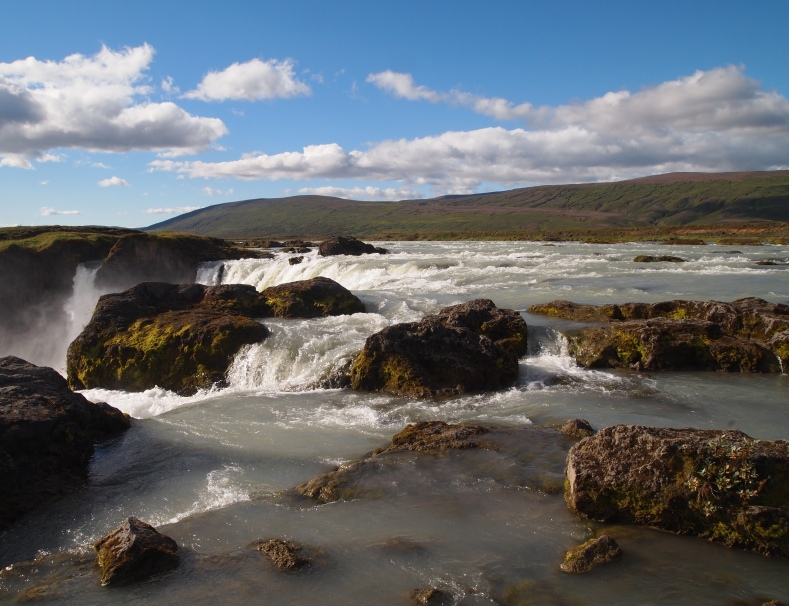 the top of Godafoss in Iceland