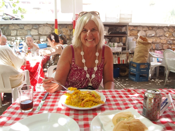 eating paella at a beachside cafe in Nerja