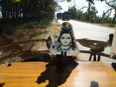 goddess on the front of the rickshaw
