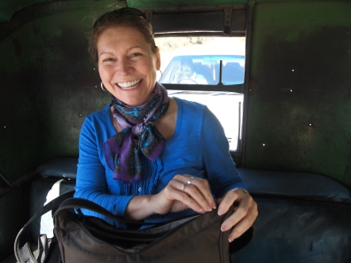 Jayne in the rickshaw