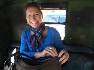 Jayne in the rickshaw
