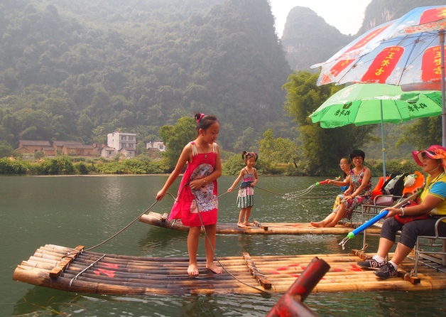 rafting on an offshoot of the Li River