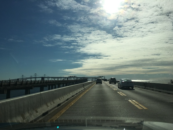 crossing the scary Chesapeake Bay Bridge on my way to my sister's for Thanksgiving