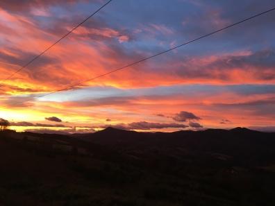sunrise leaving O'Cebreiro