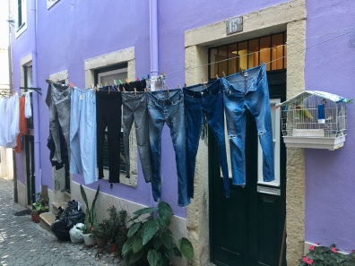a line of jeans in Lisbon