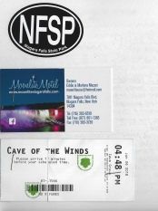 Niagara Falls State Park sticker, Moonlite Motel card, and Cave of the Winds ticket
