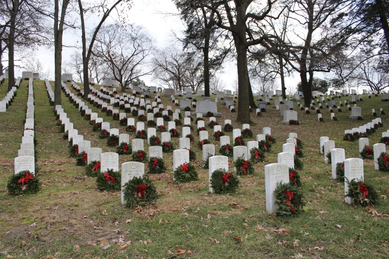 Arlington National Cemetery with wreaths for Christmas