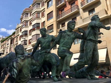 statue of the running of the bulls