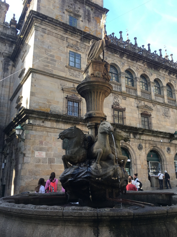 fountain in front of Santiago Cathedral
