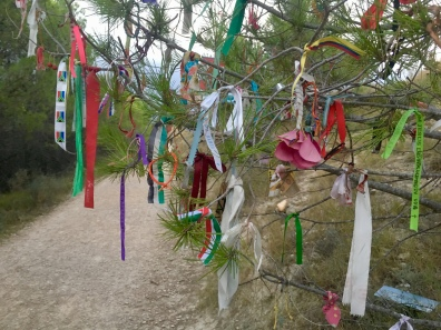 ribbons at the cairn installation