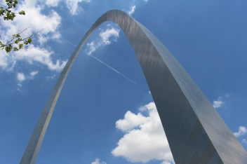 Gateway Arch in the clouds