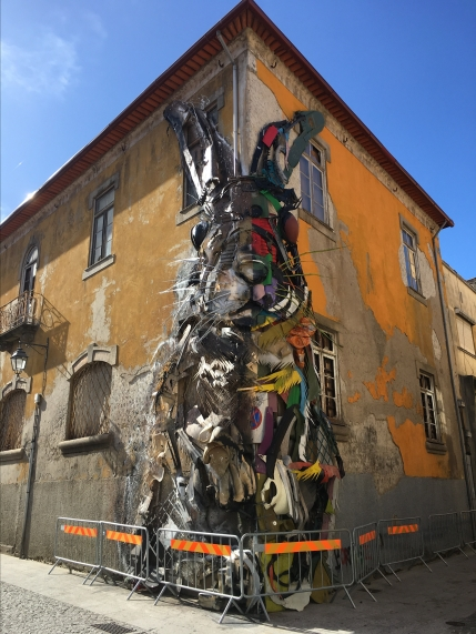 rabbit made of trash in Vila Nova de Gaia