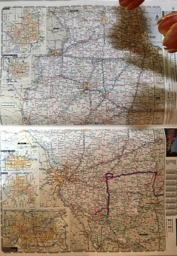 My Illinois route: Salem to Carbondale to Murphysboro