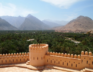 Nakhal Fort and palm plantations
