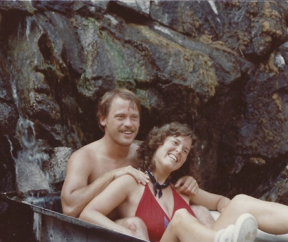 Bill and I in a bathtub built into the rocks