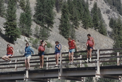 preparing to jump off a bridge over the Salmon River