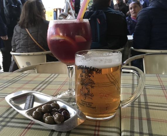 Sangria, beer & olives at Adega das Caves