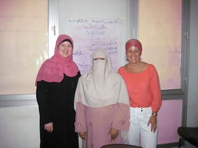 Tajweed class: Lisa, our teacher Mona, and me