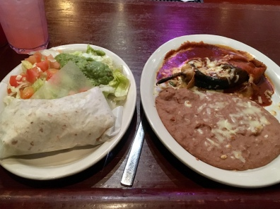 chili relleno, taco with refried beans