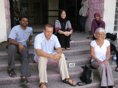 on the steps of our apartment: Tarik, Clint, Shannon, Amina and me