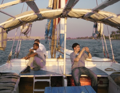 Clint, Tarik and Kevin on the felucca
