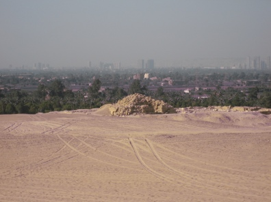 the desert with Cairo beyond