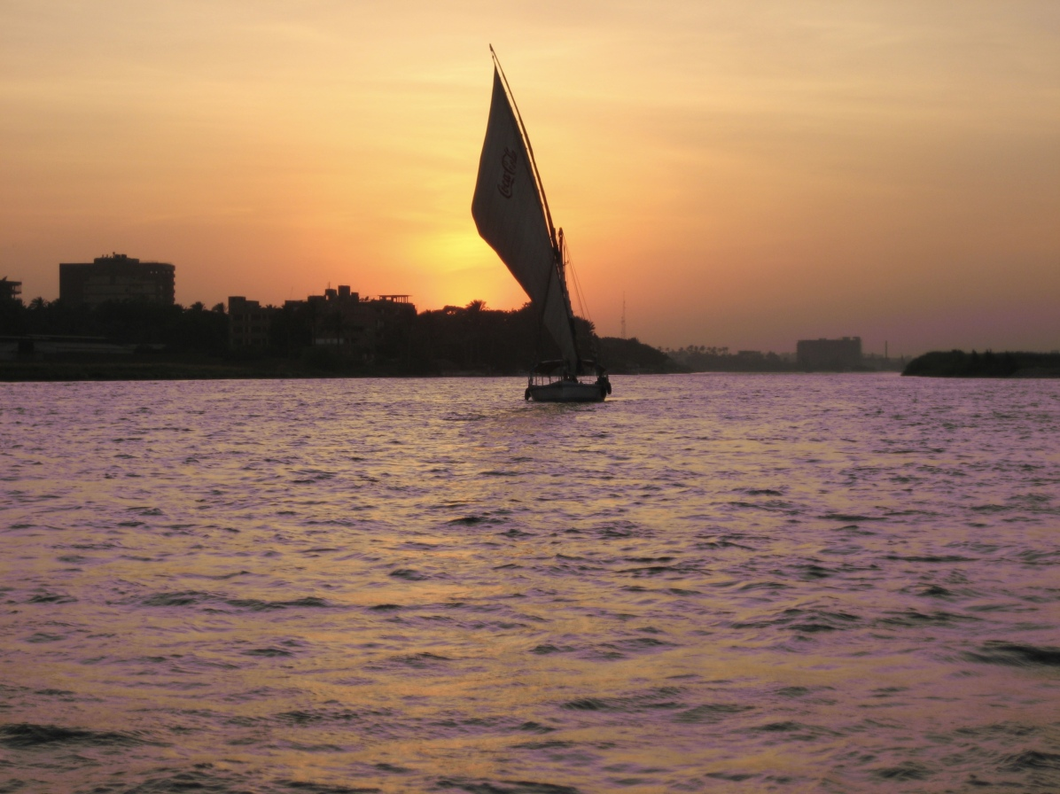 felucca on the Nile at sunset