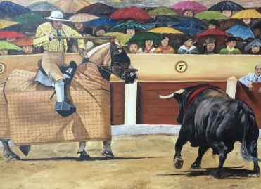 bullfighting paintings at the museum of Iglesia Señora la Peregrina