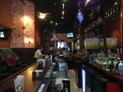 at the bar at Los Aztecas