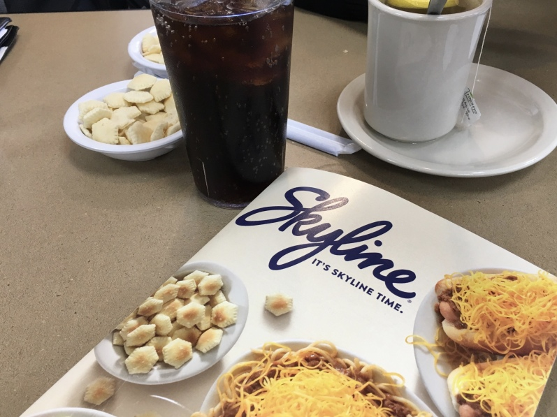 Skyline Chili menu with oyster crackers
