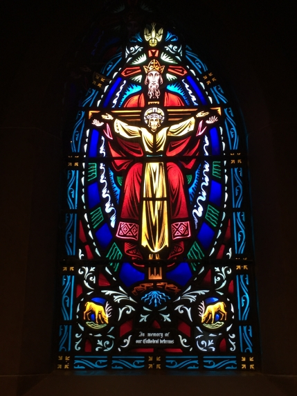 stained glass window at Saint Mary's Cathedral Basilica of the Assumption