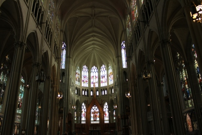stained glass windows at Saint Mary's Cathedral Basilica of the Assumption