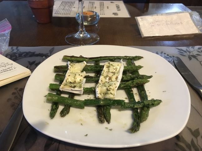 grilled asparagus and Brie