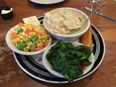 chicken & dumplings, sauteed spinach, corn, tomatoes and okra with corn bread