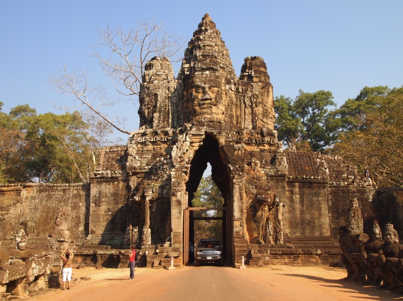 the east gate of angkor thom, flanked by 54 gods and 54 demons