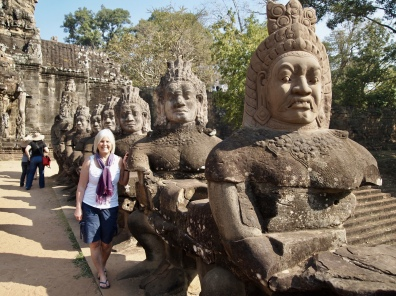 some of the 54 gods leading to angkor thom's east gate