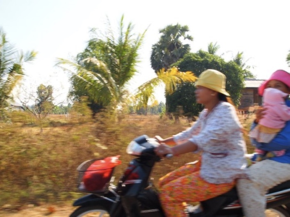 Cambodian bike riders