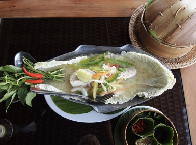 lunch of steamed fish with lime juice