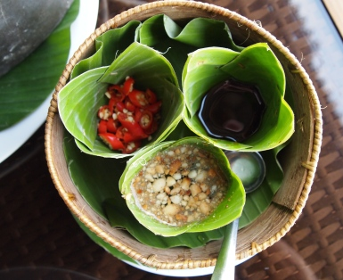 leaf bowls of sauces