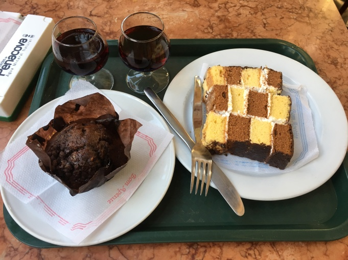 chocolate muffin and checkerboard cake