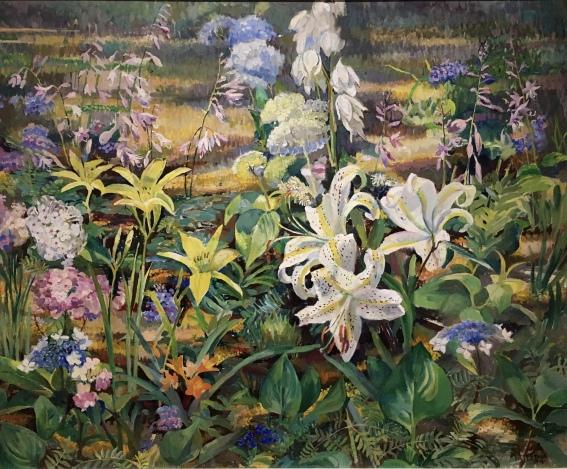 Untitled (flowers in garden), 1957 by Ethel Pennewill Brown Leach