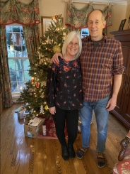 me with Mike and our small Christmas tree