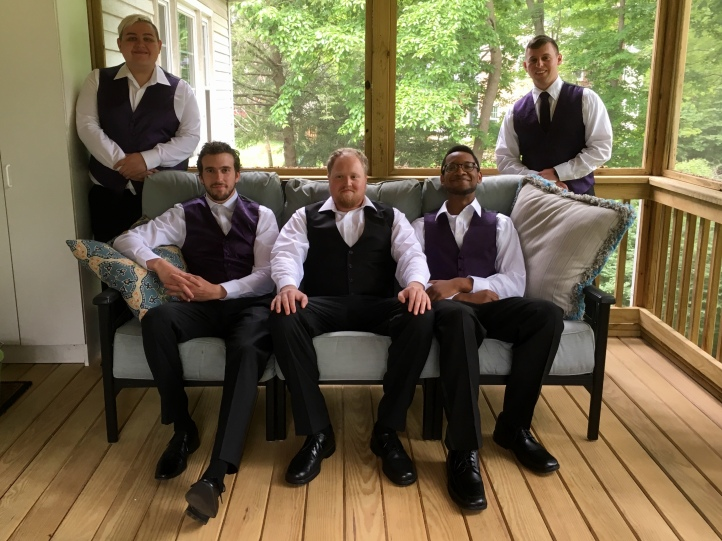the groomsmen at Colin's wedding; Alex (2nd from left) was best man