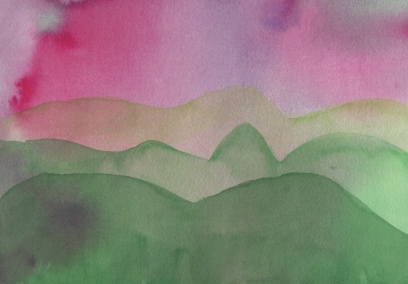 watercolor of mountains