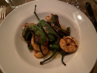 Padrones with shrimp at Chez Nous